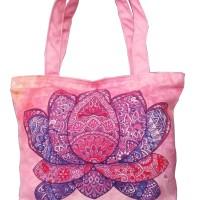 Tas Tote Bag Wanita Branded Lotus Mandala Pink Canvas