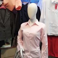Kemeja kerja wanita motif salur pink putih