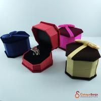 Kotak Cincin Singel Couple / Tempat Cincin Persegi bludru dengan Pita