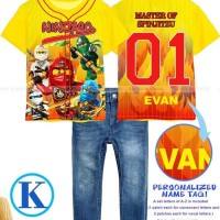 Baju Setelan Anak Laki Cowok JW68 Kaos Baseball Ninja Go Celana Jeans