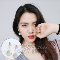 Anting Tusuk Import Korea Love Glossy Mutiara White Heart (E262)