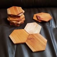 hexagon wood coaster