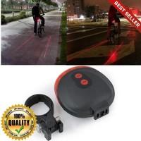 O-Outdoor Lampu Senter Belakang Sepeda 5LED+2Laser 7 Flashing Modes L