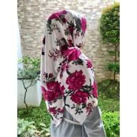 Jilbab Hijab Segi Empat Bahan Maxmara / Satin LUX Motif Bunga