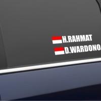 Custom Sticker / Stiker Nama dan Bendera Indonesia Custom Kaca Mobil