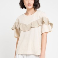 Mineola Patite Striped Ruffle Front Blouse Brown (11805137FO)