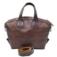 Hand sling bag wanita kulit sapi asli coklat tua selempang polos unik