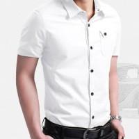 [coller white OT] kemeja pria katun stretch lengan pendek putih