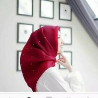 Jilbab organza silk premium tunik mutiara