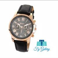 FYG J-100 Jam Tangan Geneva Leather Quartz Jam Tangan Fashion Wanita J - Hitam
