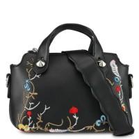 tas original murah small Embroidered Top Handle Bag Velvet