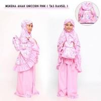 Gratis Ongkir Pusat Grosir Mukena Anak Unicorn Pink (Tas Ransel) M