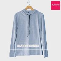 Baju Kaos Polos Hoodie Tali Lengan Panjang - Gray Misty