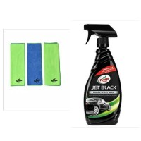 Turtle Wax - BUNDLE - JET BLACK SPRAY WAX & Microfiber Clean & Shine -