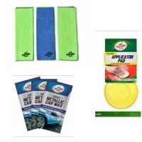 Turtle Wax - BUNDLE Metallic Car Wax-Applicator Pad-Microfiber Clean&S