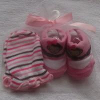 Mitten Carter-Kaos kaki plus sarung tangan motif Monkey Pink