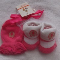 Mitten carter-kaos kaki plus sarung tangan motif gajah Pink