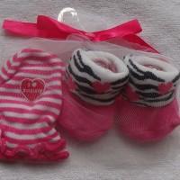 Mitten Carter-Kaos kaki plus sarung tangan motif Zebra pink