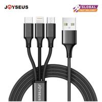 JOYSEUS 3 in 1 Charger 2A Iphone Micro USB Type C Lightning Kabel Car