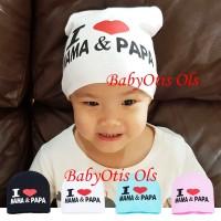 I Love Mama and Papa Topi Kupluk Anak Bayi