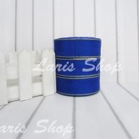 Pita Organdi List Emas 1 inch (2,5 cm) Biru Tua