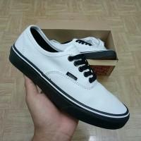 Sepatu Vans Authentic Putih sol Hitam Premium Quality - Putih, 36