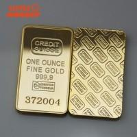 Souvenir Emas Batang CREDIT SUISSE ONE OUNCE 50*28mm untuk Dekorasi