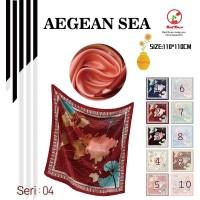 Jilbab Segi Empat Satin Velvet Motif Bunga - seri : AEGEAN SEA - 04