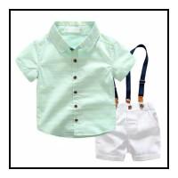 Setelan Anak Laki-laki Kemeja Summer Celana Tali Putih