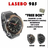 Jam tangan pria Lasebo Rantai LSB-985 Gold/BLACK Dual Time Original