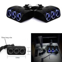 3 Way Car Cigarette Lighter Socket Splitter Dual USB Charger DC 12V/24 - Hitam
