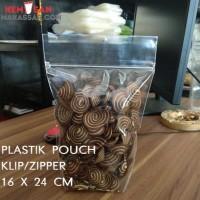 Plastik Standing Pouch Zipper 16 X 24 cm Seal Kecil