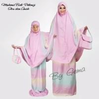 Mukena Ibu dan Anak Rayon Bali Pelangi Pink