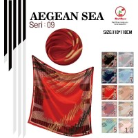 Jilbab Segi Empat Satin Velvet Motif Polkadot Bunga - seri : AEGEAN 09