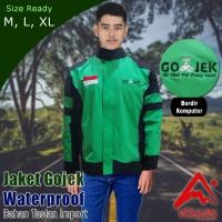 Jaket Gojek Hijau Waterproof Bahan Taslan Balon Import anti air- ajk