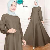 maxi emy coklat Baju gamis polos wanita terbaru busana muslim murah ta