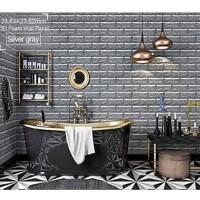 Wall Brick Foam 3D Abu-abu Wallpaper Dinding Batu Bata Modern