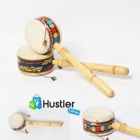 Mainan Anak Tradisional Gendang Putar Genggam Geleng Motif Bahan Kayu