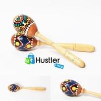 Mainan Anak Tradisional Marakas Genggam Motif Bahan Kayu dan Kulit