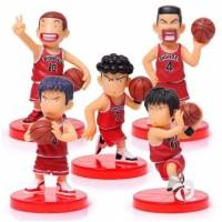 Slam Dunk Basket Figure Set 5 Mainan Miniatur Pajangan Toppers FG369