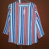 Blus Atasan Wanita Garis-garis Merah Biru Putih