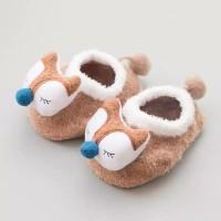 Kaos kaki bayi prewalker anti slip cokelat fox import pom tail