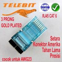 Konektor RJ45 GOLD PLATED STP CAT 6 TELEBIT HARGA SATUAN