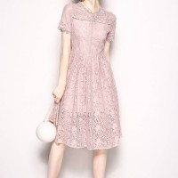 22994 Pink Lace Openwork Dress