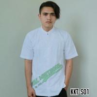 Baju Koko Pria Muslim Kemeja Koko Putih Bersih Senada Lengan Pendek - Putih, L