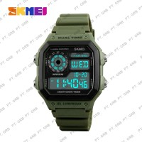 Jam Tangan Pria Digital SKMEI 1299 Army Green Water Resistant 50M