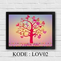 Poster dinding Bingkai dekorasi rumah QUOTES Love pajangan A4