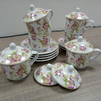 Tea set-cangkir dan lepek-cup and saucers with cover Vicenza Y85N