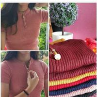 Zipper Top Knit Lengan Pendek/ Panjang