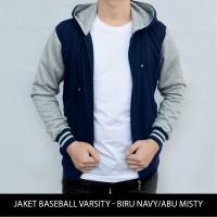 Jaket varsity baseball Hoodie Biru Navy - Abu Misty Grosir